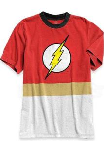 Camiseta Bandup Bicolor Athletic Batman Logo Classic - Masculino-Vermelho+Branco