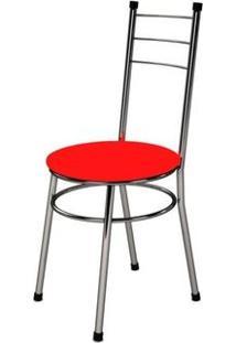 Cadeira Baixa 0.236 Redonda Cromado/Vermelho - Marcheli