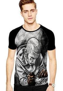 Camiseta Stompy Raglan Modelo 116 Masculina - Masculino-Preto