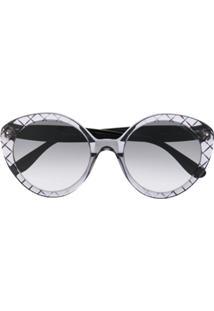 Bottega Veneta Eyewear Óculos De Sol Redondo - Preto