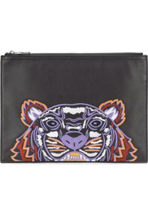 Kenzo Tiger Embroidered Clutch Bag - Preto