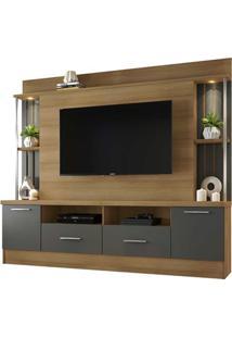 Estante Home Para Tv 65'' 2 Portas 2 Gavetas Afeto Noronha E Grafite 200X194Cm