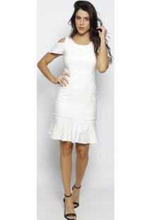 Vestido Midi Com Ombros Vazados - Off White- Moiselemoisele