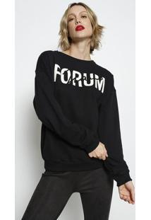 """Blusã£O Em Moletom """"Forum Jeans""""- Preto & Branco- Forforum"""