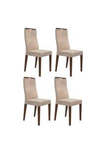 Kit 4 Cadeiras Para Sala De Jantar Luciana D08 Bege - Mpozenato