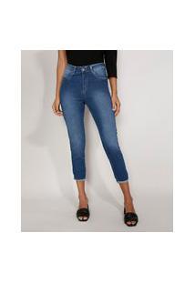Calça Jeans Feminina Cintura Alta Sawary Cropped Heart Com Barra Dobrada Azul Médio