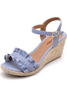 Sandália Dr Shoes Anabela Azul - Kanui