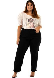 Calã§A Camellia Plus Size Blubetty Reta Cropped Black - Preto - Feminino - Algodã£O - Dafiti