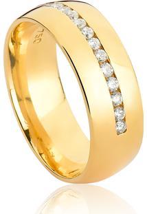 Aliança De Ouro 18K Anatômica Abaulada Com Filete De Diamante (7,00Mm)