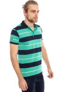 Camisa Polo Aleatory Listrada Brow Masculina - Masculino-Verde+Preto