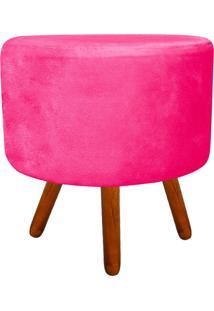 Puff Banqueta Decorativa Dora Redondo Suede Rosa Barbie - D'Rossi