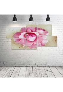 Quadro Decorativo - Pink-Rose-Vintage - Composto De 5 Quadros - Multicolorido - Dafiti