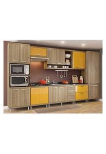 Cozinha Completa Multimóveis Com 8 Peças Sicília 5832 Argila/Amarelo