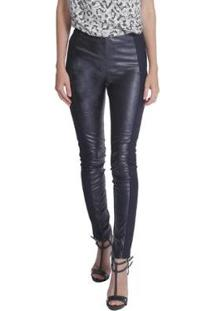 Calça Skinny Miss Joy Leather Feminina - Feminino-Preto
