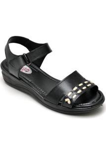 Sandalia Conforto Top Franca Shoes Feminina - Feminino-Preto