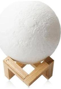 Luminária Lua Cheia 3D Abajur Usb Touch 3 Cores - Unissex-Branco