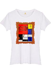 Camiseta Joss Feminina Estonada Mondrian Cat Branco