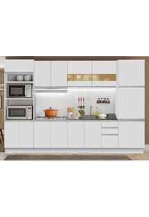 Cozinha Completa Madesa Olimpia 3 Gavetas 14 Portas (Sem Tampo E Pia) Branco