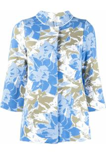 Charlott Cardigan Com Padronagem Floral - Azul