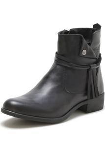 Bota Cano Curto Over Boots Urbana Couro Preto