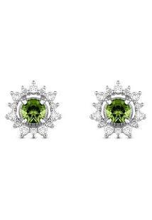 Brinco Ouro Branco Turmalinas Verdes E Diamantes