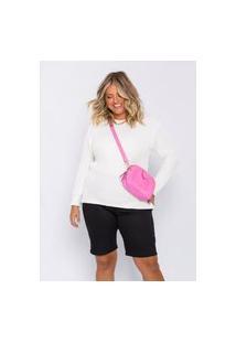 Blusão De Tricot Plus Size Feminino Xxglamour Off White