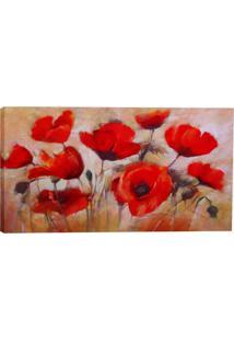 Quadro Floral Vermelho 55X100Cm