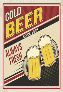 "Placa Decorativa ""Cold Beer""- Preta & Bege- 20X30Cm"