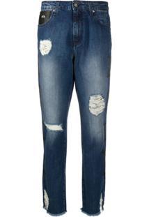 John Richmond Distressed Straight-Leg Jeans - Azul
