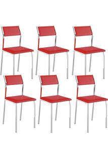 Cadeira 1709 Cromada 06 Unidades Vermelha Carraro