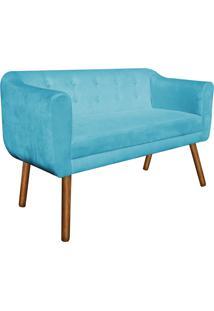 Poltrona Namoradeira Julia 2 Lugares Suede Azul Tiffany - D'Rossi