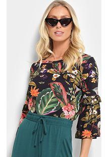 Blusa Cantão Floral Feminina - Feminino