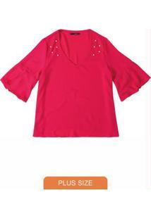 Blusa Pink Em Crepe Com Apliques Wee!