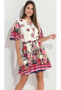 Vestido Floral Com Decote Vazado