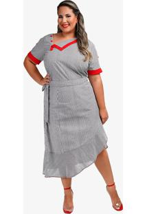 Camisa Plus Size Listrada - Preto - Feminino - Poliã©Ster - Dafiti