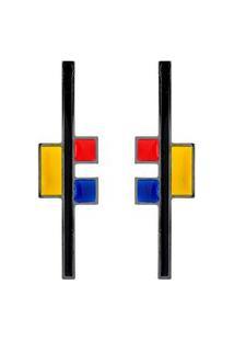 Brinco Málika Mondrian Blocks 8Cm