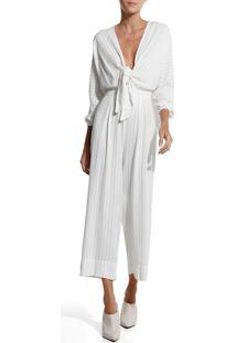 Macacão Rosa Chá Beatriz Beachwear Off White Feminino (Off White, G)