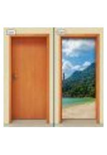 Adesivo Decorativo De Porta - Montanha - Praia - 1620Cnpt