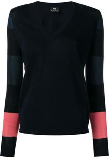 Ps Paul Smith Blusa Com Contraste - Azul