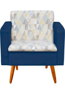 Poltrona Decorativa Emília Linho A17 Com Suede Azul Marinho - D'Rossi
