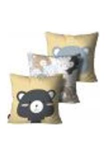 Kit Com 3 Capas Para Almofada Infantil Urso Colorido 35X35Cm