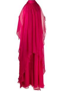 Alberta Ferretti Vestido Com Ombros Vazados E Sobreposição - Rosa