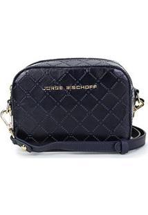 Bolsa Couro Jorge Bischoff Mini Bag Monograma Feminina - Feminino-Marinho