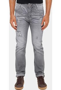 Calça Jeans Reta Razon Puídos Black Stone Masculina - Masculino