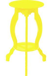 Mesa Abajur Redonda P Amarelo Mundo Móveis