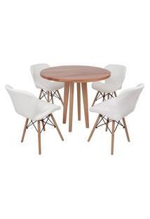 Conjunto Mesa De Jantar Em Madeira 90Cm Com Base Vértice + 4 Cadeiras Slim - Branco