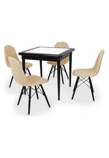 Conjunto Mesa De Jantar Em Madeira Preto Prime Com Azulejo + 4 Cadeiras Botonê - Nude