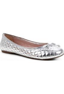 Sapatilha Shoestock Clássica Matelassê Metalizada Feminina - Feminino-Prata
