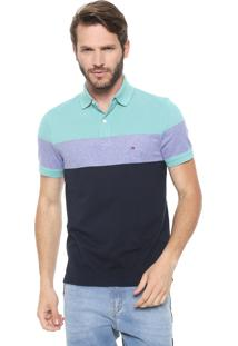 Camisa Polo Tommy Hilfiger Reta Dylan Verde/Azul-Marinho
