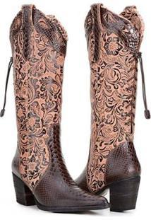 Bota Texana Country Capelli Boots Anaconda Couro Com Detalhe Em Elástico Feminina - Feminino